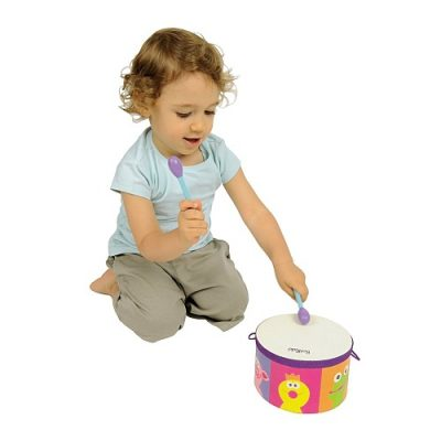 Girl playing with drum